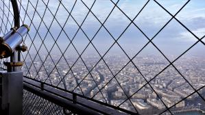 Traveling France. The Eiffel Tour. The view from the upper level of the third floor.