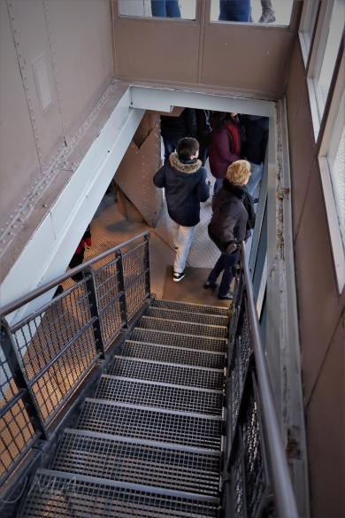 Traveling France. The Eiffel Tour. The stairs between the lower and the upper level of the third floor.