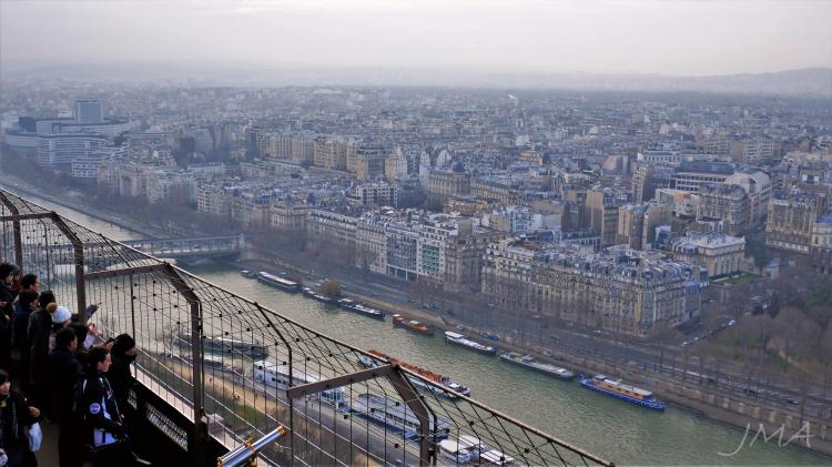 Traveling France. The Eiffel Tour. The view from the upper level of the second floor.