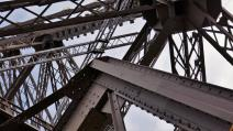 Traveling France. The Eiffel Tour. The construction inside.