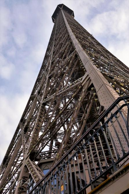 Traveling France. The Eiffel Tour. Looking up from the lower level of the second floor.