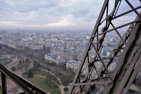 The Eiffel tour, Paris. The city panorama from in between the second and the first floor.