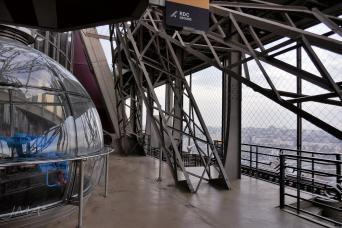 Traveling France. The Eiffel tour, Paris. At the first floor.