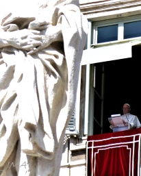 Pope Francis speaking at the St. Peter's square