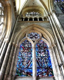 Beauvais. Inside the Gothic cathedral – the extraordinary stained glass work.