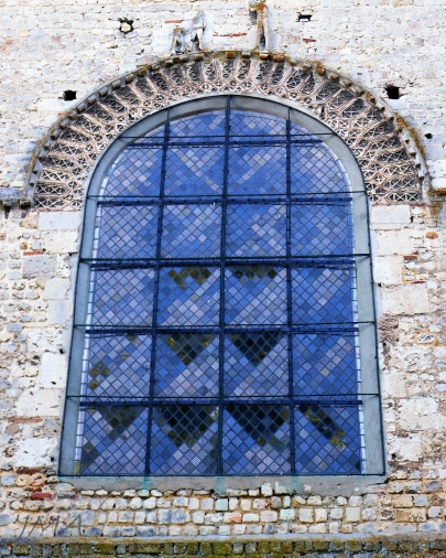 A window typical for the Roman style of architecture. Beauvais, France.