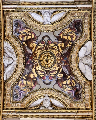 A ceiling decoration in the ballroom
