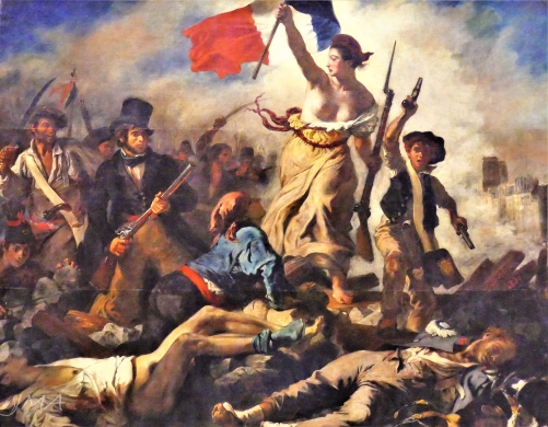 Louvre. A painting by Eugene Delacroix. Liberty Leading the People. It is depicting the events of the second wave of the French Revolution that took place in 1830.