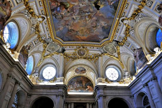Inside the entrance hall of the royal castle in Madrid (Palacio Real de Madrid)