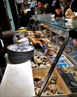 Spanish food. Delicious appetizers / tapas at Mercado de San Miguel in Madrid, Spain