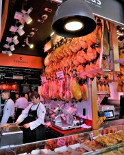 Spanish food. Delicious appetizers / tapas / Spanish ham at Mercado de San Miguel in Madrid, Spain.