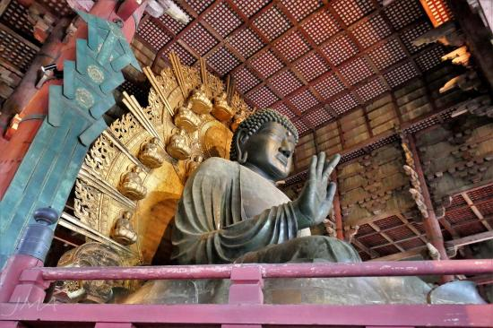 The Great Buddha in the Tōdai-ji temple complex in Nara, Japan.