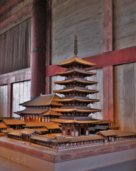 The old Tōdai-ji temple complex on display in the Great Buddha Hall in Nara, Japan.