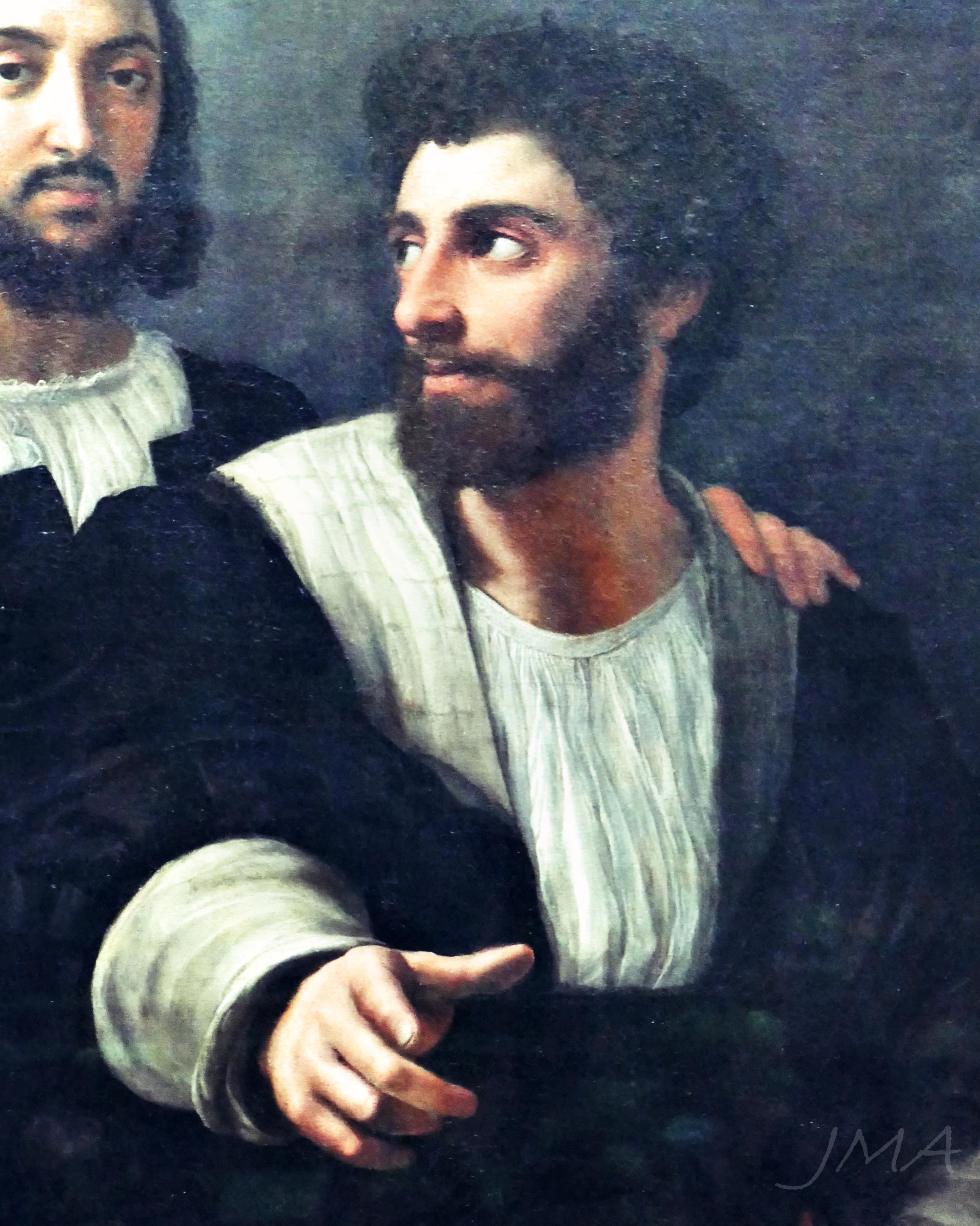 Traveling France. Raphael, self portrait with a friend, Louvre.
