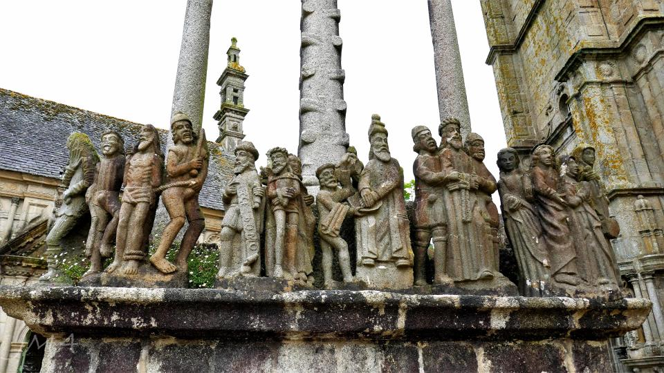 Traveling France. The calvary, a traditional Catholic monument depicting the Holy Week events. Saint Thegonnec enclos / enclosure.
