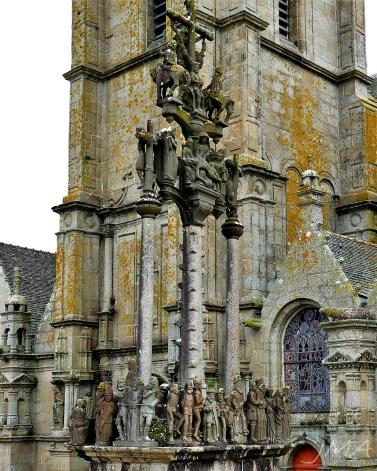 The calvary, a traditional Catholic monument depicting the Holy Week events. Saint Thegonnec enclos / enclosure, France
