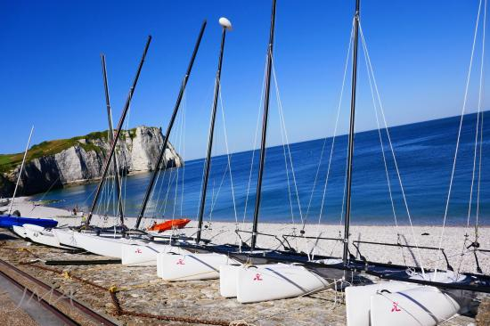 Traveling France. Catamarans, Etretat, Atlantic coast.