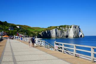 Traveling France. The chalk cliffs in Etretat, France, Atlantic coast, the English Channel