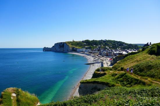 Traveling France. The beach in Etretat, France.