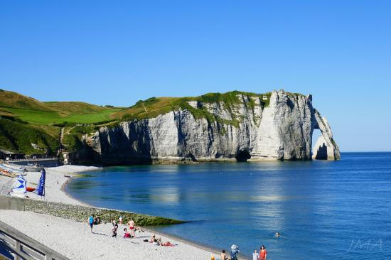 Traveling France. The chalk cliffs in Etretat, France, Atlantic coast, the English Channel.