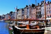 Traveling France. A view onto the old port of Honfleur in France