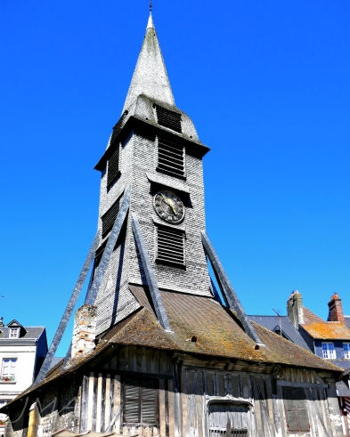Traveling France. The church of Saint Catherine of Alexandria in Honfleur, France. The bell tower