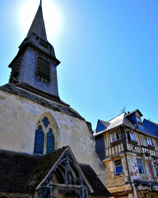 Traveling France. An old church in the old port of Honfleur in France