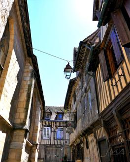 Traveling France. The old half timbered houses in the old port of Honfleur in France