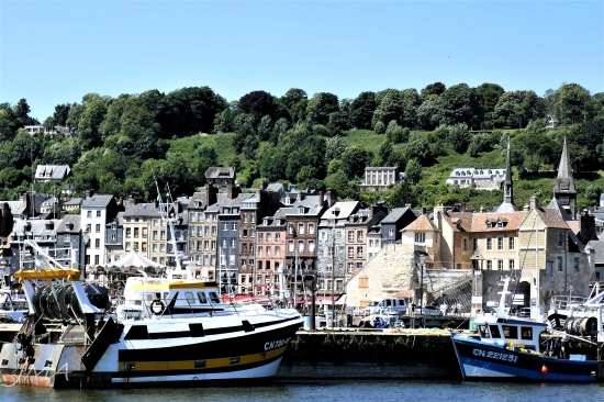 Traveling France. A view onto the old port of Honfleur, France.