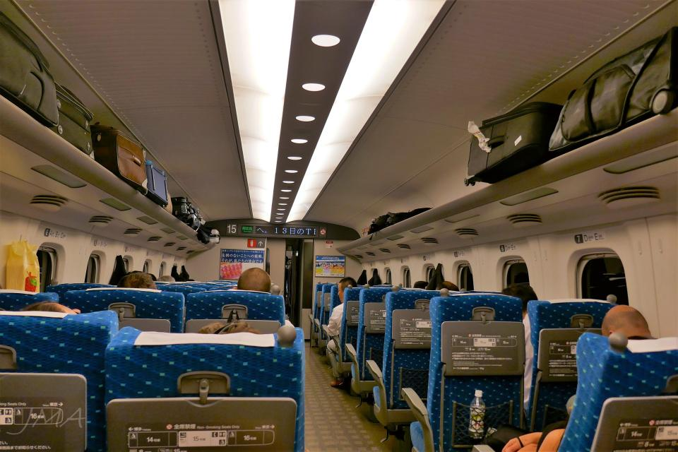 Japanese public transport. Inside a Shinkansen train.