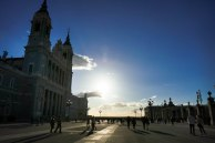 Sun setting down. On the left hand side the Almudena cathedral