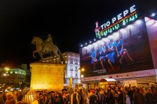 Puerta del Sol, crowded on a Satruday late evening
